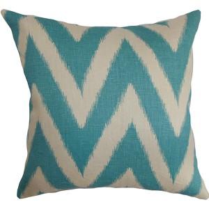 Bakana Aqua 18 x 18 Zigzag Throw Pillow
