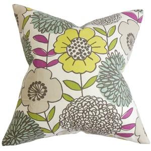 Veruca Yellow 18 x 18 Floral Throw Pillow