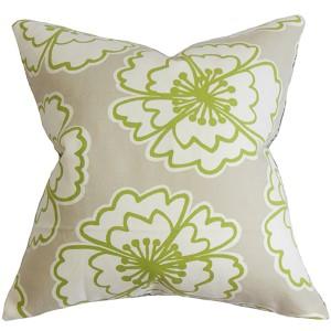 Winslet Gray 18 x 18 Floral Throw Pillow