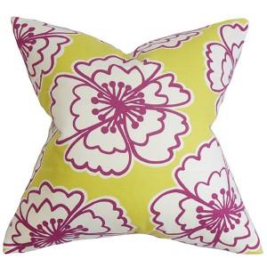 Winslet Yellow 18 x 18 Floral Throw Pillow