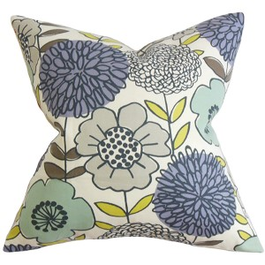Veruca Blue 18 x 18 Floral Throw Pillow