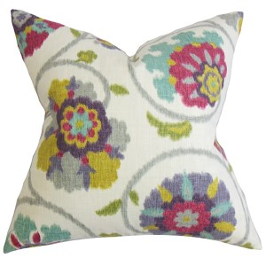Tarian Red 18 x 18 Floral Throw Pillow