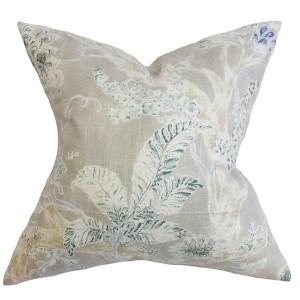 Satriya Blue 18 x 18 Floral Throw Pillow