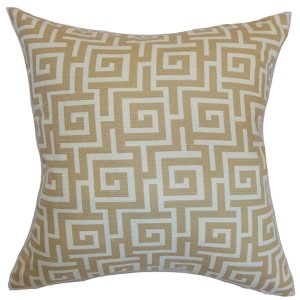 Warder Neutral 18 x 18 Patterned Throw Pillow