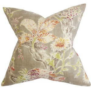 Satriya Red 18 x 18 Floral Throw Pillow