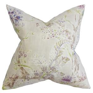 Satriya Neutral 18 x 18 Floral Throw Pillow