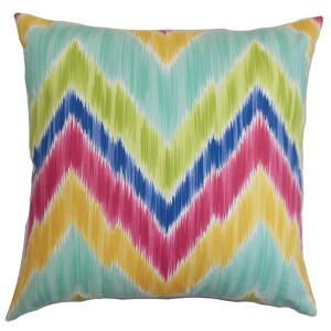 Caltha Green 18 x 18 Zigzag Throw Pillow