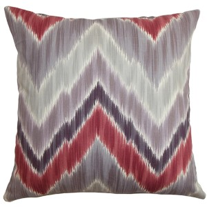 Caltha Gray and Red 18 x 18 Zigzag Throw Pillow