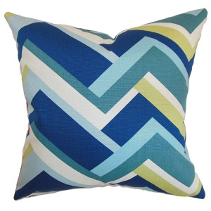 Hoonah Aqua 18 x 18 Geometric Throw Pillow