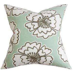 Winslet Blue 18 x 18 Floral Throw Pillow