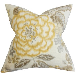 Unai Yellow 18 x 18 Floral Throw Pillow
