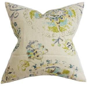 Riah Blue 18 x 18 Floral Throw Pillow
