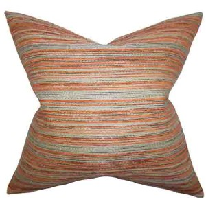 Bartram Orange 18 x 18 Stripes Throw Pillow