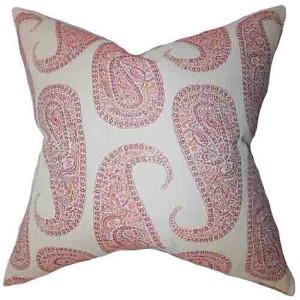 Amahl Orange 18 x 18 Paisley Throw Pillow