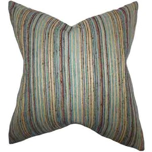 Bartram Blue and Brown 18 x 18 Stripes Throw Pillow