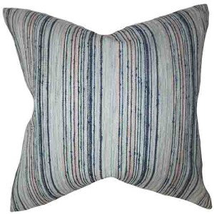 Bartram Blue 18 x 18 Stripes Throw Pillow