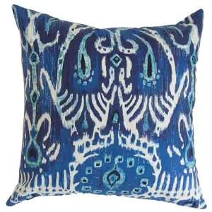 Haestings Navy Blue 18 x 18 Ikat Throw Pillow