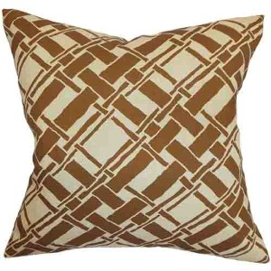 Rygge Brown 18 x 18 Patterned Throw Pillow
