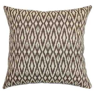 Hafoca Brown 18 x 18 Ikat Throw Pillow