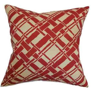Rygge Red 18 x 18 Patterned Throw Pillow