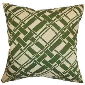 Rygge Natural Green 18 x 18 Patterned Throw Pillow