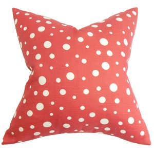 Bebe Red and White 18 x 18 Dots Throw Pillow