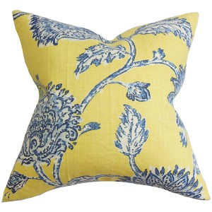 Behati Yellow and Blue 18 x 18 Floral Throw Pillow