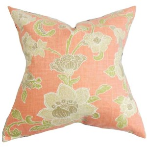 Duscha Pink 18 x 18 Floral Throw Pillow