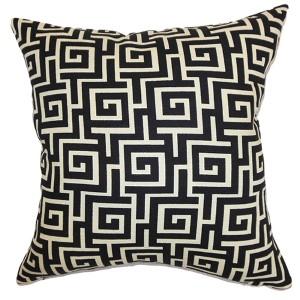 Warder Black 18 x 18 Patterned Throw Pillow
