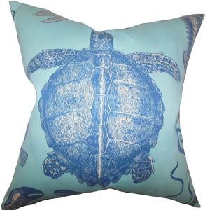 Aeliena Sky Blue 18 x 18 Coastal Throw Pillow