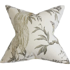 Giulia Green and White 18 x 18 Floral Throw Pillow
