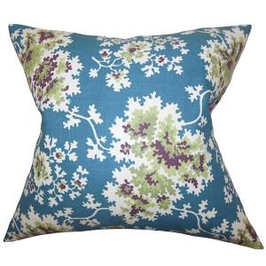 Danique Blue 18 x 18 Floral Throw Pillow