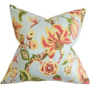 Chaya Light Blue 18 x 18 Floral Throw Pillow