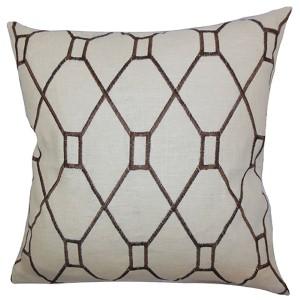 Neveah Brown 18 x 18 Geometric Throw Pillow
