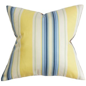Douce Blue and Yellow 18 x 18 Stripes Throw Pillow