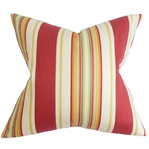 Douce Red 18 x 18 Stripes Throw Pillow