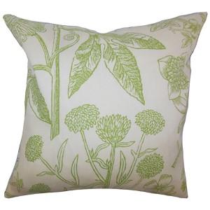 Neola Green 18 x 18 Floral Throw Pillow