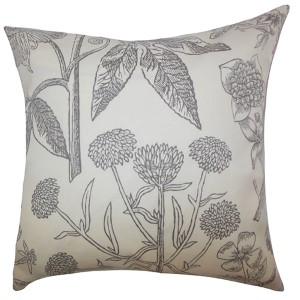 Neola Gray 18 x 18 Floral Throw Pillow
