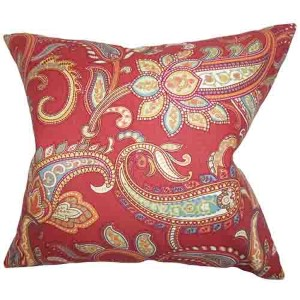 Galila Red 18 x 18 Floral Throw Pillow