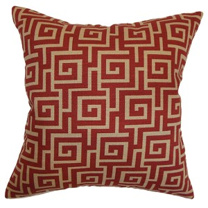 Warder Red 18 x 18 Patterned Throw Pillow