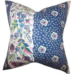 Elske Blue 18 x 18 Floral Throw Pillow