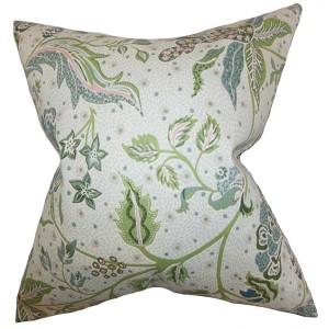 Fflur Aqua Green 18 x 18 Floral Throw Pillow