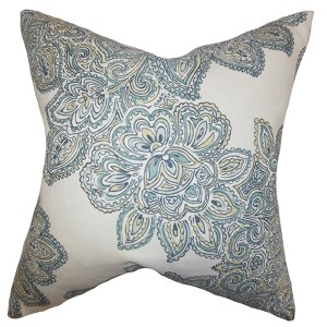 Haldis Sea Green 18 x 18 Floral Throw Pillow