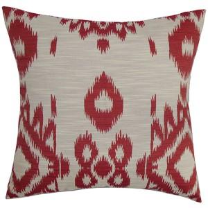 Gaera Red 18 x 18 Ikat Throw Pillow