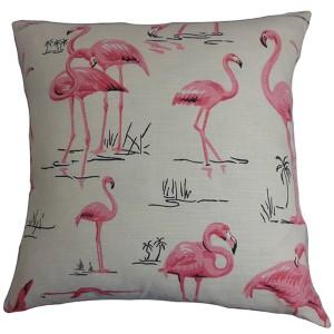 Qusay Natural Pink 18 x 18 Animal Throw Pillow