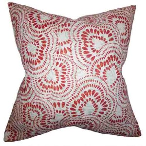 Glynis Mint Red 18 x 18 Floral Throw Pillow