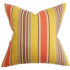 Hollis Orange and Yellow 18 x 18 Stripes Throw Pillow