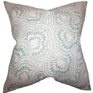 Glynis Pink and Green 18 x 18 Floral Throw Pillow