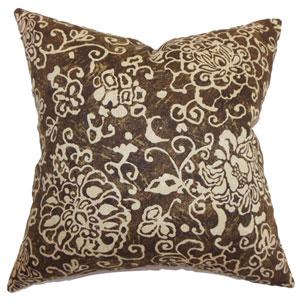 Jaffna Floral Pillow Chocolate