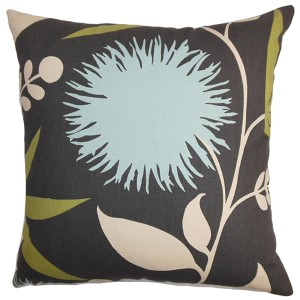 Huberta Black Blue 18 x 18 Floral Throw Pillow